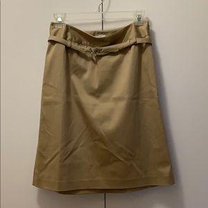 Ann Taylor loft-  khaki belted skirt with side zip